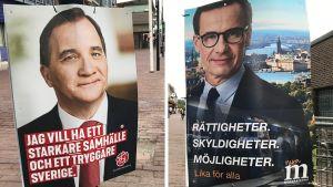 Socialdemokraternas och moderaternas valaffischer.