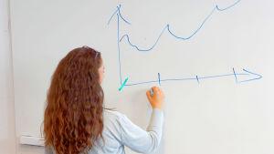 En lärare ritar upp ett diagram på en tavla.