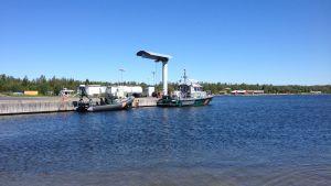 Båtarna vid Vallgrunds sjöbevakningsstation.