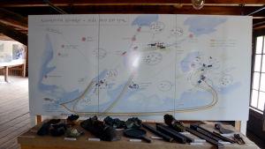 En karta över de olika bruken i Västnyland. Kartan är en del av utställningen Billnäs lever.