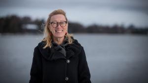 Muumihahmojen käyttöoikeuksia valvovan Moomin Characters Oy Ltd:n pääosakas ja taiteellinen johtaja Sophia Jansson (Lars Janssonin tytär, Tove Jansson oli täti), Salmisaari, Hki, 7.12.2017.