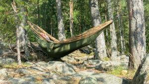 en man ligger i en grön hängmatta. Inte på någon gård utan i in öppen skogsglänta med stenar under sig och tallar runt sig. Soligt.
