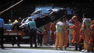 Ayrton Sennas bil efter dödskraschen.