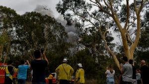 Människor ser på bränder vid Voyager Point i Sydney den 5.1.2020.