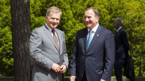 President Sauli Niinistö och Sveriges statsminister Stefan Löfven på Gullranda.