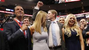 Donald Trumps barn, Donald Jr, Ivanka, Eric och Tiffany.