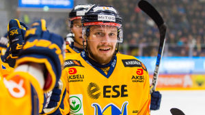 Nestori Lähde firar ett mål, Ilves-Jukurit, våren 2017.