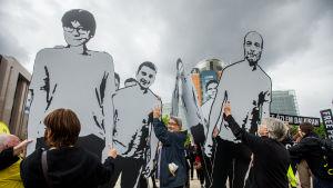 Demonstranter protesterade i Bryssel mot rättegången mot ledande människorättsaktivister i Turkiet
