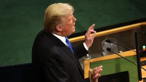 President Donald Trump talar inför FN:s generalförsamling
