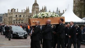 Stephen Hawkings begravning i Cambridge.