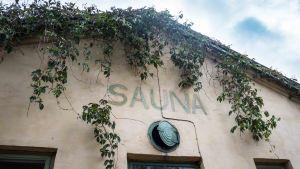 Vaaleaa seinää, jolla murattia ja teksti sauna.