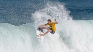 En surfare på en våg.