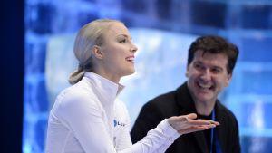 Kiira Korpi var nöjd efter kortprogrammet i EM.