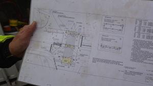 Planeringskarta för gatuarbetena vid Dombron i Åbo.