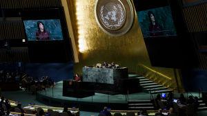 USA:s FN-ambassadör Nikki Haley håller tal till FN:s generalförsamling inför röstningen om en resolution som fördömer USA:s beslut att erkänna Jerusalem som Israels huvudstad.