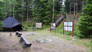 Lägerplats i forskningsskogen i Solböle, Bromarv.