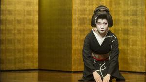 Japansk geisha uppför en traditionell dans i ett tehus i Kanazawa, Japan.