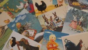Erilaisia vanhoja pääsiäiskortteja