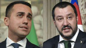 Femstjärnerörelsens ledare Luigi di Maio (till vänster) och ledaren för Lega, Matteo Salvini.