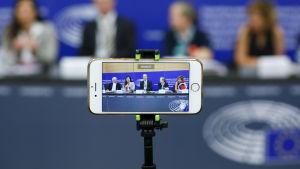 Bild från presskonferens om upphovsrätten.