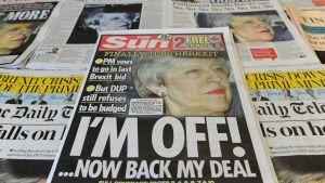 Tidningar i Storbritannien skriver om brexit