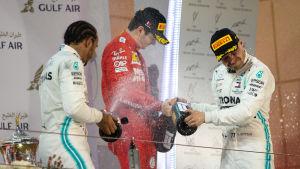 Lewis Hamilton, Charles Leclerc och Valtteri Bottas sprutar champagne på prispallen