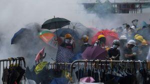 Demonstranter i moln av tårgas under proesterna på onsdagen.
