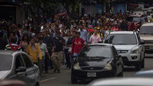 Trafikkaos under ett elavbrott i Venezuelas huvudstad Caracas.