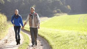 Ett par är ute och vandra tillsammans, hand i hand.