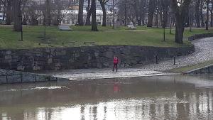 En dam i röd jacka går längs åkanten i Åbo, där vattnet går ända upp till den lägsta avsatsen längs ån.