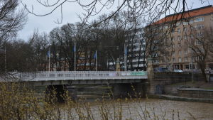 Närbild på Aurabron i Åbo.