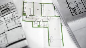 Planritning över flera bostäder.