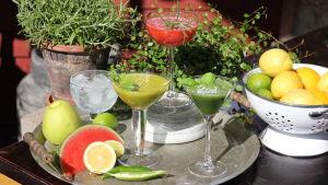 Tre drinkar i cocktailglas. Två gröna och en röd.
