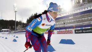 Krista Pärmäkoski tränar på Lahtis skidstadion, VM 2017.