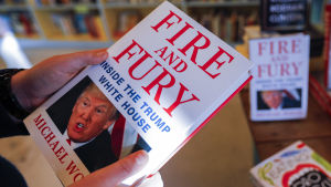 "Michael Wolffs bok ""Fire and Fury"" i en bokhandel i Decatur, Georgia. 5.1.2018."