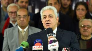 """Hamdeen Sabahi, Sisis enda motkandidat i valet år 2014 har inlett bojkottkampanjen """"Stanna hemma."""""""