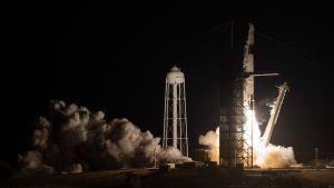 Sonden Crew Dragon fick skjuts av raketen Falcon 9 från Cape Canaveral i Florida.