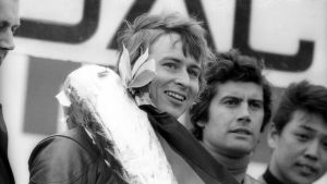 Jarno Saarinen, Giacomo Agostini och Hideo Kanaya på prispallen, Nürburgring 1973.