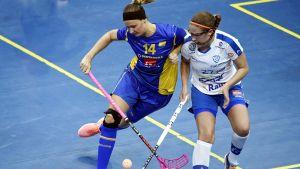 Finland och Sverige spelar damlandskamp i innebandy.