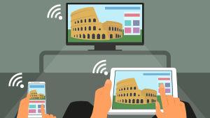 En illustration av en mobil, en surfplatta och en tv som är kopplade till samma nätverk.