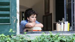 Elio (Timothée Chalamet) sitter vid ett öppet fönster och tittar ut.