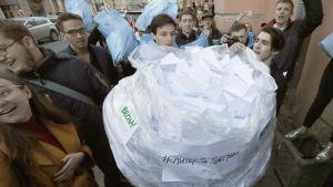 Flashmob mot myndigheternas försök att begränsa Telegrams verksamhet.