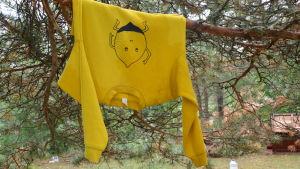 Handmålad tröja upphängd i ett träd