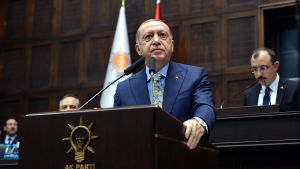 Turkiets president Recep Tayyip Erdoğan talade inför parlamentet den 23 augusti 2018