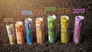 hoprullade sedlar och årtalen 2011, 2012, 2013, 2014, 2015, 2016, 2017 i text ovanför