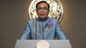 Den sittande premiärministern general Prayuth Chan-ocha under en presskonferens i Bangkok den 8 januari.