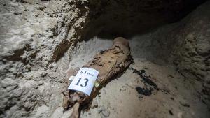 Mumie i grav i Egypten.