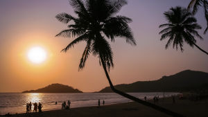 Solnedgång i Goa i Indien
