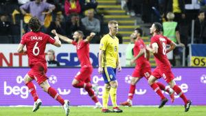 Turkiet firar mål mot Sverige i Nations League i fotboll.