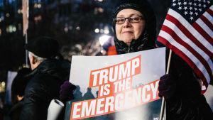 Upprörda amerikaner demonstrerade på måndagen över hela USA mot Trumps beslut att utlysa nationellt nödläge.